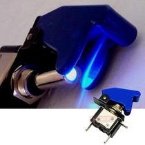 Chave Botão Caça Azul Led Neon Azul P/ Som Turbo Tuning