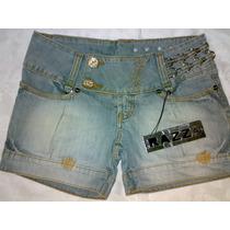 Bermuda Short Jeans Razzo Bordada Vários Detalhes Tam 36/ 38