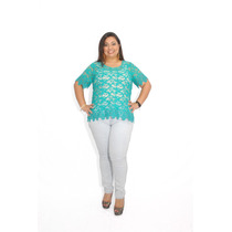 Calça Jeans Plus Size Bordada Do 46 Ao 52