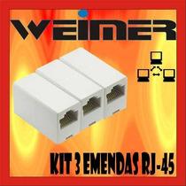 Kit De 3 Emendas P/ Rj45 8x8 Cat5 8p8c Femea X Femea