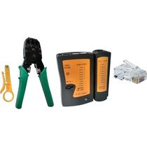 Alicate Crimpar + Descascador + Testador + 100 Plug Rj 45