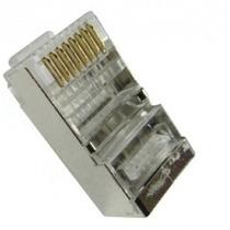Conector Rj45 Blindado 8 Vias Cat 5e Pacote Com 25 Peças +nf