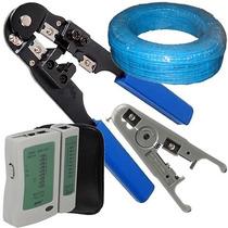 Alicate Crimpar Conector Rj45+100m Cabo+ Testador+ Decapador