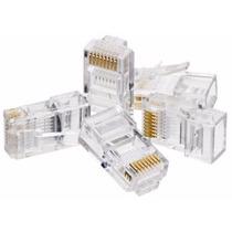Kit 100 Conectores Rj45 Cat5e P/ Cabo De Rede Lan Ethernet