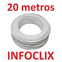 Cabo Rede Cat5e Branco 20m Metros Internet Net Pronto Uso