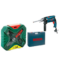 Kit De Brocas X-line 34pçs + Furadeira 700w 1/2 Gsb Bosch