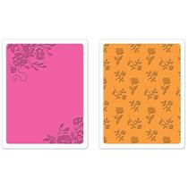 Placa De Textura E Emboss Sizzix - Border Blooms & Garden Ro