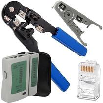 Alicate Crimpar Rj45 Cabo Rede+ Decapador+ Testador+ 20 Plug