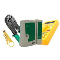 Kit Testador De Cabos + Multímetro + Alicate De Crimpar Rj45