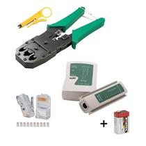 Kit Alicate De Crimpar Cabo Rede Decapador Conector Testador