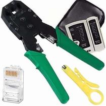 Alicate Crimpar Rj45 Cabo Rede+ Decapador+ Testador+100 Plug