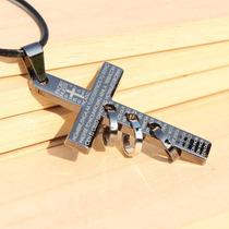 Colar Couro Feminino Masculino Cruz Crucifixo Pai Nosso