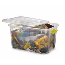 Kit C/2 Caixas Plástica Organizadora Com Tampa E Trava 50 L
