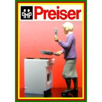 F64 Figuras Mulher Cozinheira + Fogão Ho 1:87 Preiser