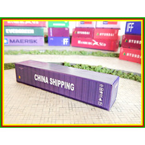 2 Unid. Container 40 Pés China Shipping Ho 1/87 Hbm Maquete