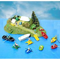 Set 10 Peças Canoas, Pedalinhos + 10 Figuras Ho 1/87 Hbm123