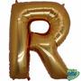 Balão Metalizado Letra R Ouro 14 Polegadas 35 Cm