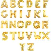 Balão Metalizado Dourado Ou Prata Letras - De A A Z - 40cm