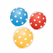 Balão Latex Nº9 Poá - Bexiga De Bolinha Para Festa Palhaço