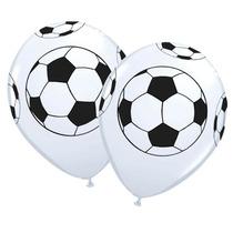 Balão Látex Bola De Futebol Branco - 12 Uni Frete Grátis