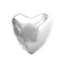 Balão Coração Metalizado Prata 45 Cm - Kit C/10 Unid -vazios