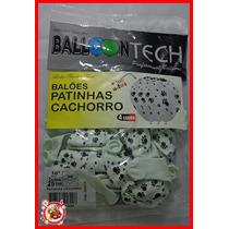 Balão Bexiga Balloontech Nº10 - Com 25 Un Patinhas Cachorro