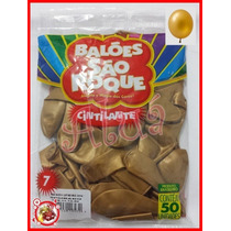 Balão Bexiga São Roque Nº 07 C/ 50un. Cor Dourada Cintilante