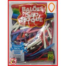 Balão Bexiga São Roque Canudo Palito 260sr Colorido C/50 Un.