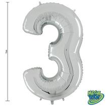 Balão Metalizado Numero 3 Prata 40