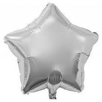 Balão Estrela Prata 45cm Metalizados Kit C/ 10 Unid Vazio