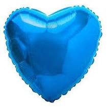 Balão Coração Azul 45cm Metalizados Kit C/ 15 Unid Vazio
