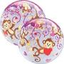 Balão Bubble Redondo Macaco Com Coração - Qualatex