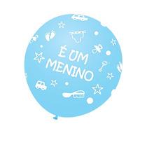 Balão Latex Nº9 É Um Menino - Bexiga Chá De Bebê Azul 25u