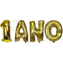 Balão Metalizado Letras + Números Dourado 1º Ano Aniversário