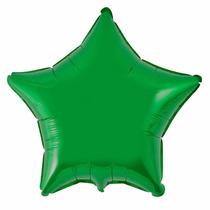 Balão Metalizado Estrela Verde 45x45cm, Kit 10 Balões