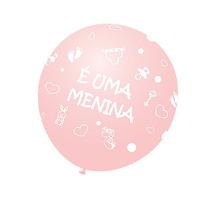 Balão Latex Nº9 É Uma Menina - Bexiga Chá De Bebê Rosa 25u