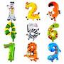 Kit 10 Balão Metalizado Infantil Número Animais Escolar 40cm