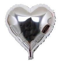 Balão Metalizado Coração 22cm - Pacote C/ 10 Baões - Prata