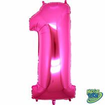 Balão Metalizado Número 1 Pink Tamanho 40 Aprox 1 M