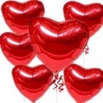 45 Balão Metalizado Coração Vermelho 45cm +1 Bomba De Inflar