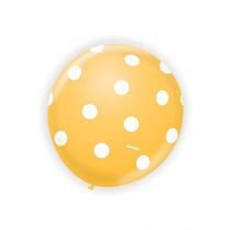 Balão Latex Nº9 Amarelo Poá Branco - Bexiga Bolinha 25u