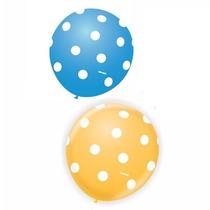 Balão Latex Azul E Amarelo Poá Branco - Bexiga Bolinha 50u