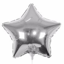 10 Balão Estrela Prata 45cm Metalizado Bola Hélio Gas Rj