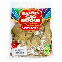 750 Unid. Balão Bexiga São Roque Nº 7 Cor Dourada Cintilante