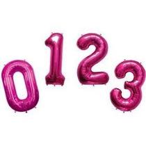 Balão Metalizado Número Gigante Rosa - 0 A 9: Unidade