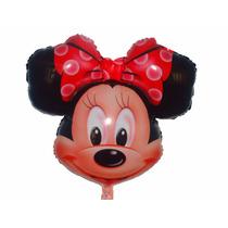 6 Balão Metalizado Minnie Laço Vermelho + 6 Mickey Cabeção