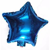 Kit C/ 10 Balão Metalizado Estrela Azul De 21cm R$ 19,99