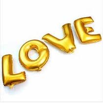 4 Und Balão Metalizado Dourado Letras - 40cm Love