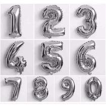 Balão Metalizado Número Prata Letras Dourada Alfabeto 40cm