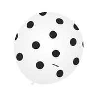 Balão Latex Anos60 Nº9 Branco Poá Preto - Bexiga Bolinha 25u